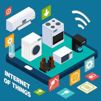 Iot zwięzła ikona izometryczny koncepcji gospodarstwa domowego
