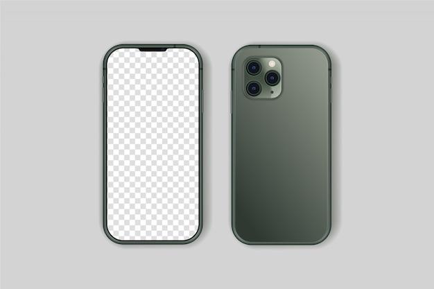 Iphone 11 pro na białym tle wysokiej jakości wektor