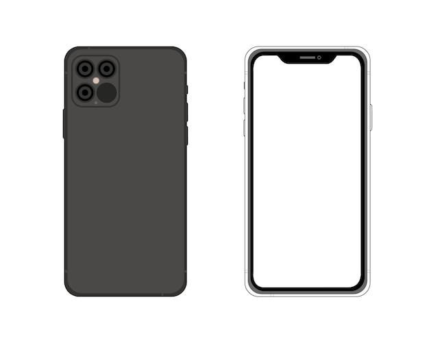 Iphone 12. przednia i tylna strona prosta graficzna ilustracja. ikona smartfona na białym tle na tle. koncepcja tworzenia aplikacji, stron internetowych, prezentacji, ui ux.