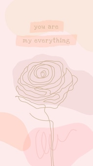 Iphone różowy szablon tapety wektor z kwiatem róży