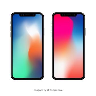 Iphone x z gradientową tapetą