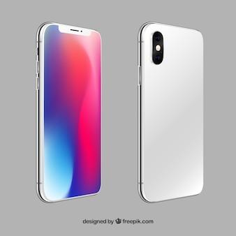 Iphone x z różnymi widokami w realistycznym stylu