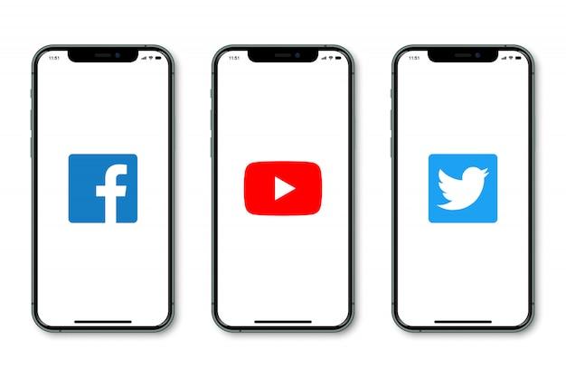 Iphone z logo mediów społecznościowych na ekranie