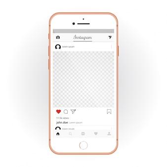 Iphone z mobilnym zestawem ui instagram. makieta smartfona i aplikacja czatu