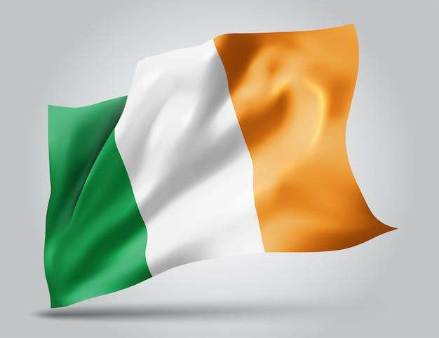 Irlandia, wektor flaga z falami i zakrętami macha na wietrze na białym tle.