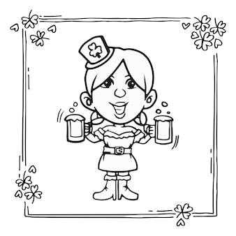 Irlandzka dziewczyna st. patrick serwuje piwo