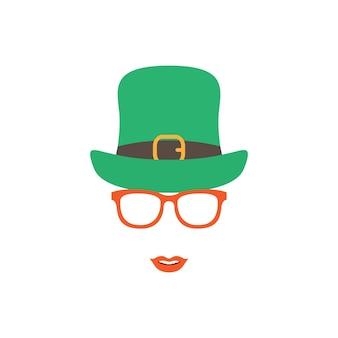 Irlandzka dziewczyna w zielonym kapeluszu i pomarańczowych okularach