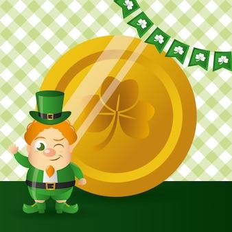 Irlandzki goblin ze złotą monetą, szczęśliwy dzień świętego patryka