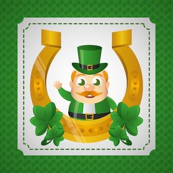 Irlandzki krasnoludek z podkową, dzień świętego patryka