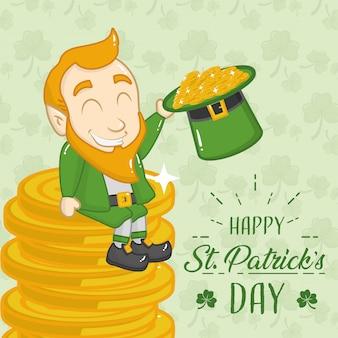 Irlandzki zielony goblin siedzi na stosie kart okolicznościowych monet