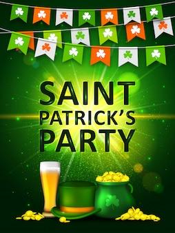 Irlandzkie święto dzień świętego patryka. girlandy z kolorowych proporczyków z koniczyną, zielony garnek złotych monet, szklanka piwa i zielony kapelusz