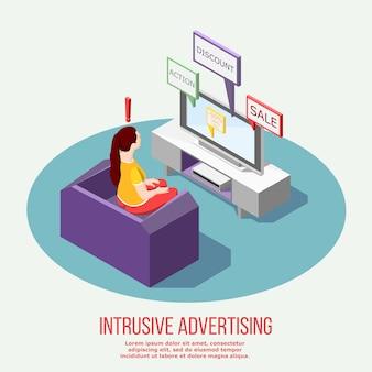 Irytująca reklama telewizyjna kompozycja izometryczna