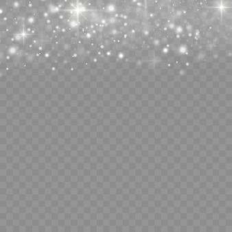Iskry białego pyłu i gwiazdy świecą specjalnym światłem, efekt świetlny christmas sparkl, musujące magiczne cząstki pyłu na przezroczystym tle, świecą światła, blask, ilustracji wektorowych.