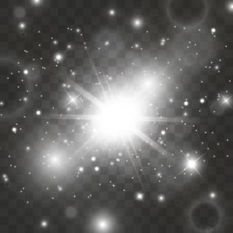 Iskry błyszczą specjalnym efektem świetlnym. błyszczy na przezroczystym tle. lśniące magiczne cząsteczki kurzu.