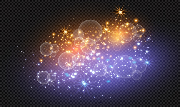 Iskry błyszczą specjalnym efektem świetlnym. lśniące, magiczne cząsteczki kurzu.