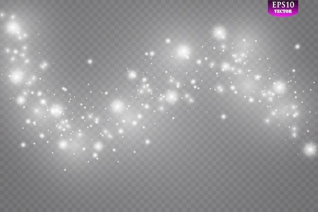 Iskry i brokat specjalny efekt świetlny. błyszczy na przezroczystym tle. lśniące, magiczne cząsteczki kurzu