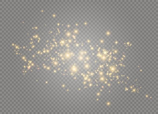 Iskry i gwiazdy błyszczą specjalnym efektem świetlnym. lśniące, magiczne cząsteczki kurzu.