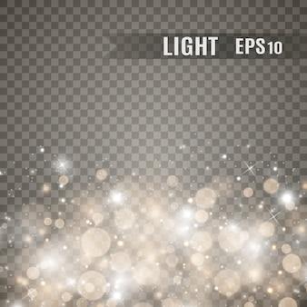 Iskry i złote gwiazdy błyszczą specjalnym efektem świetlnym. błyszczy na przezroczystym tle. . lśniące magiczne cząsteczki kurzu