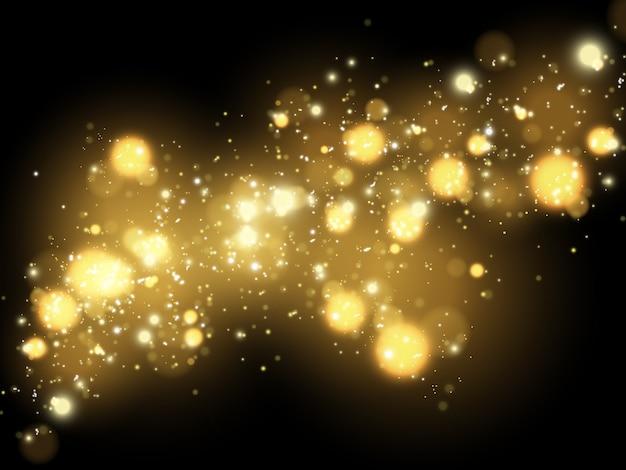 Iskry i złote gwiazdy błyszczą specjalnym efektem świetlnym. błyszczy na przezroczystym tle. lśniące, magiczne cząsteczki kurzu.