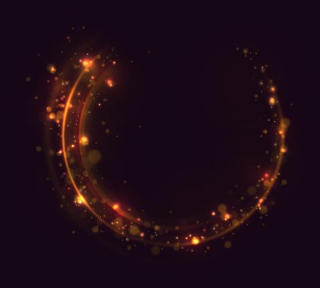 Iskry i złote gwiazdy w kręgu