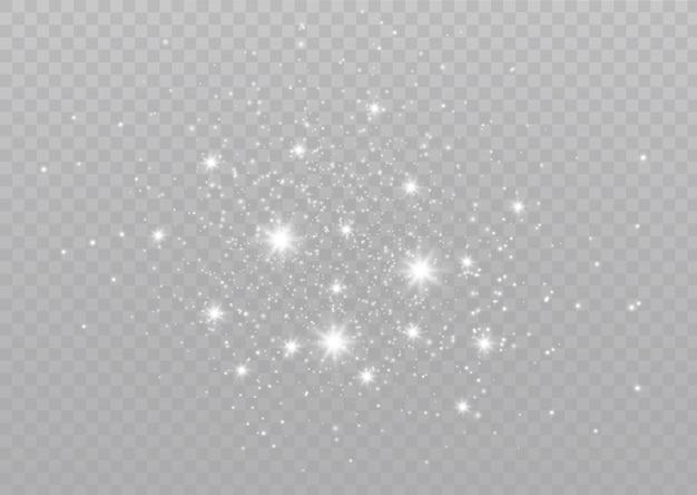 Iskry kurzu i złote gwiazdy świecą specjalnym światłem błyszczące magiczne drobinki kurzu