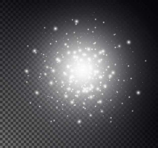 Iskry pyłu i złote gwiazdy świecą specjalnym światłem. błyszczy na przezroczystym tle. efekt świetlny. lśniące magiczne cząsteczki pyłu.
