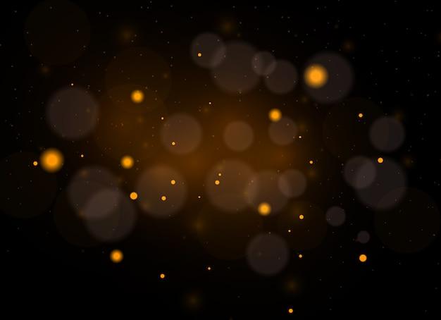 Iskry pyłu i złote gwiazdy świecą specjalnym światłem. wektor błyszczy na przezroczystym tle. efekt świetlny. lśniące magiczne cząsteczki pyłu.