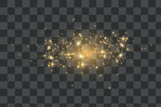 Iskry pyłu i złote gwiazdy świecą specjalnym światłem.