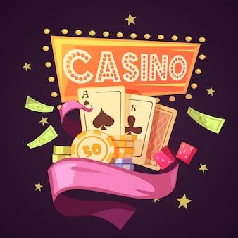 Iskrzasty kasyno z kartami ilustracyjnymi