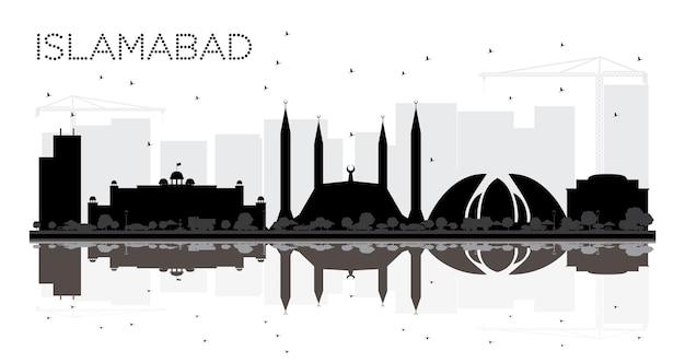 Islamabad pakistan city skyline czarno-biała sylwetka z odbiciami