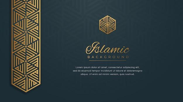 Islamska arabeska niebieski złoty ornament arabeska granicy tło