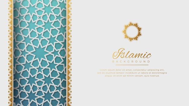 Islamska arabska biała luksusowa arabeska tło z elegancką złotą obwódką