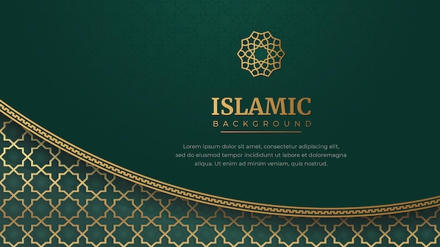 Islamska arabska zielona luksusowa arabeska tło z elegancką złotą ramką