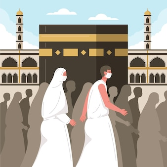 Islamska ilustracja pielgrzymki hadżdż