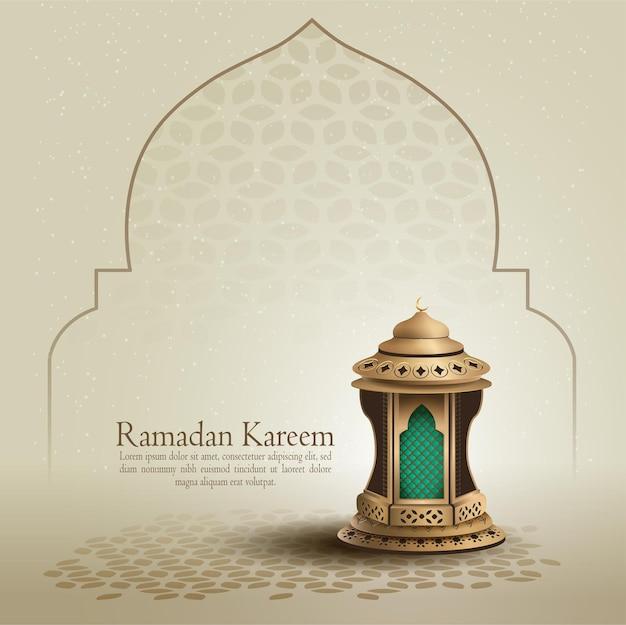 Islamska karta okolicznościowa ramadan kareem z piękną złotą latarnią