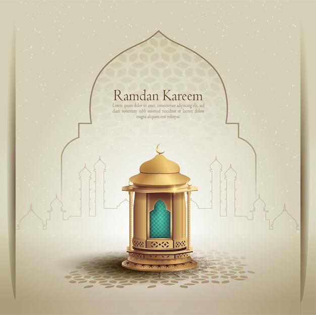 Islamska karta powitania ramadan kareem z piękną złotą latarnią i linią meczetu