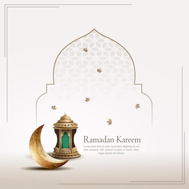 Islamska karta z pozdrowieniami ramadan kareem z półksiężycem i latarnią