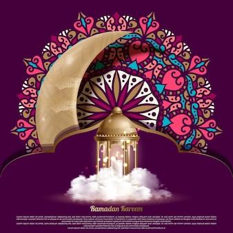 Islamska karta z pozdrowieniami ramadan kareem ze złotymi latarniami i półksiężycem