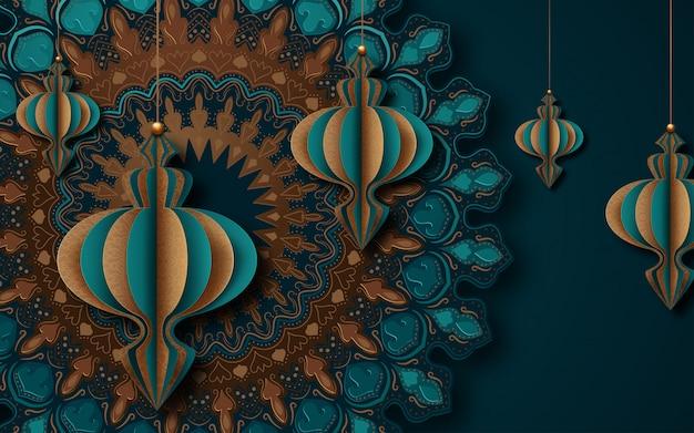 Islamska kartka z pozdrowieniami dla ramadanu. styl sztuki papierowej.