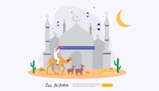 Islamska koncepcja happy eid al adha lub uroczystości uroczystości poświęcenia