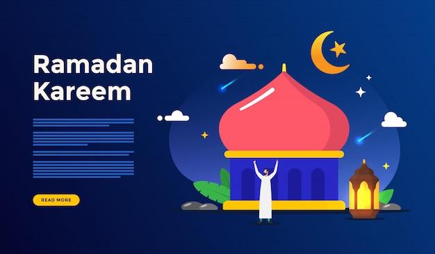 Islamska płaska ilustracja dla szczęśliwego eid fitr lub adha mubarak i ramadan kareem z koncepcją postaci ludzi do szablonu strony docelowej