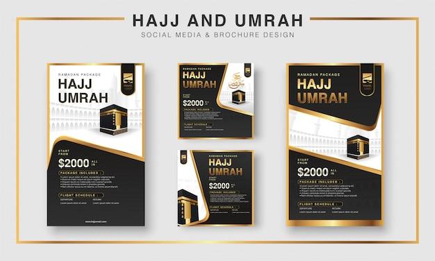 Islamska ramadan hajj & umrah broszura lub ulotka i media społecznościowe szablon projektu tła z modlącymi się rękami i ilustracją mekki.