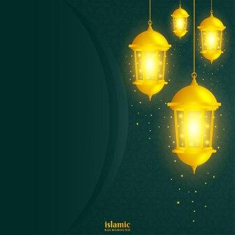 Islamska tło z błyszczącą złotą latarnią ilustracji