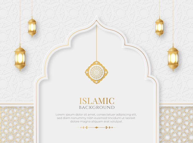 Islamski arabski elegancki luksusowy ozdobny tło z islamskim wzorem i dekoracyjnymi lampionami