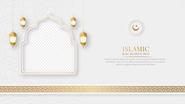 Islamski arabski elegancki post w mediach społecznościowych z pustym miejscem na zdjęcie w tle islamskiego wzoru