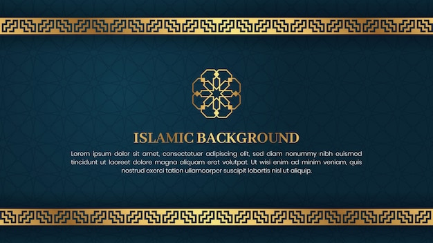 Islamski arabski luksusowy elegancki tło z życzeniami szablon projektu z dekoracyjnym złotym ornamentem ramki