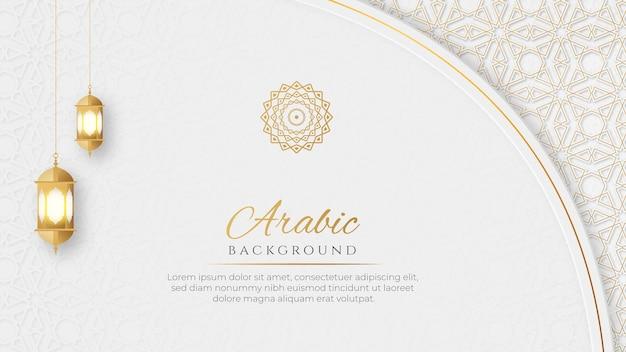 Islamski arabski luksusowy ozdobny sztandar ze złotym wzorem i ozdobnymi latarniami ozdobnymi