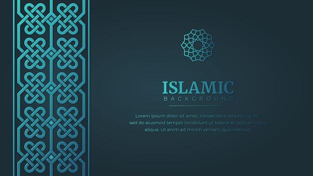 Islamski arabski wzór ornamentu obramowania ramki na niebieskim tle z miejscem na kopię
