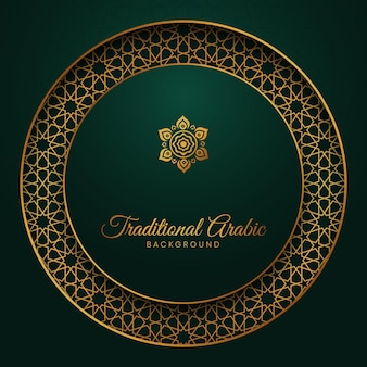 Islamski arabski zielony luksusowy tło z wzorem w stylu arabskim w kształcie koła