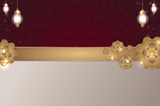 Islamski czerwony bordowy kwiat złoty tło
